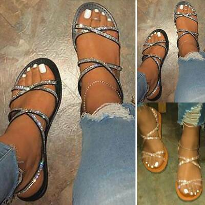 New Womens Lady Diamante Flat Low Heel Slingback Summer Comfy Sandals Shoes Size