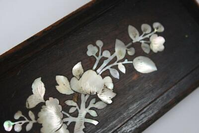 Antique Chinese Small Wood Panel Mother Of Pear Shell Inlaid Butterfly Scene
