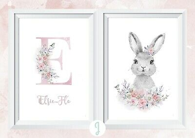Personalised baby girl rabbit nursery print picture walldecor christening gift