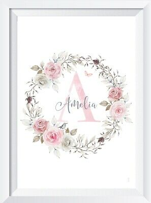 Personalised baby girl print picture nursery woodland flowers gift child pink