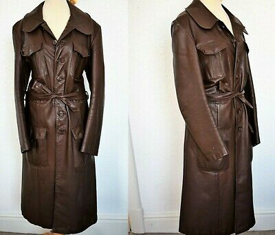 Ladies Vintage 1970s Big Collar Brown Long Leather Jacket Size Medium