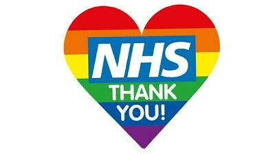 Rainbow Heart Window or Wall Sticker Thank You NHS  10% Donated to NHS