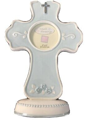 SMALL BLEESINGS Ceramic Cross Picture Frame By RUSS BERRIE GIFTS