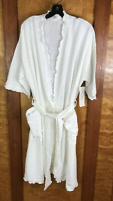 Simple Pleasures Night and Day One Size Cotton White Dot Belted Wrap Robe R102D