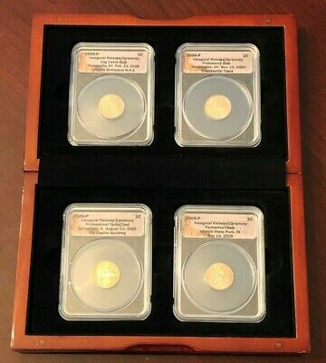 Lot of (2) 2009 P Lincoln Cent Bicentennial 4 Coin Set ANACS in Wood Displays!