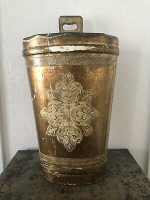 Vintage Shabby Chic FLORENTINE Gold Gilt Tole Wood Bucket Holder Stand Italy