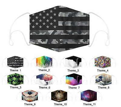 Funny Washable Face Cover Shield Mouth-muffle with Filter HipHop Cospaly Party