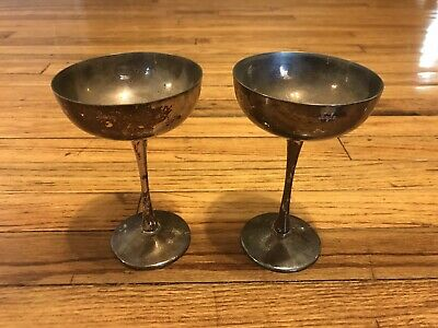 Vintage Eades 1779 Silverplate Wine Glasses Goblets Italy Lot of 2