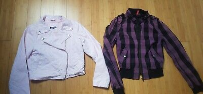 two girls summer jackets M&S Biker Jacket & H&M purple Age 11-12 yrs