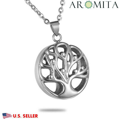Tree of Life Round Cremation Jewelry for Ashes keepsake Memorial Urn Necklace-1
