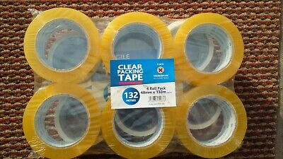 Brown/ Clear Parcel Packing Tape Extra Long 48Mm X 132M Cellotape Carton Sealing