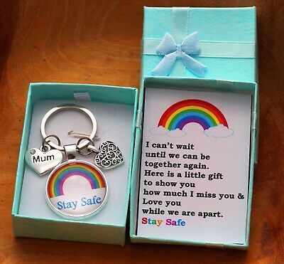 I MISS YOU GIFT STAY SAFE KEYRING FOR MUM DAD GRANDMA  NANA + Box