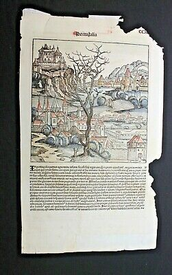 Hartman Schedel Nuremberg Chronicle Hand Coloured Page Liber Chronicarum 1493