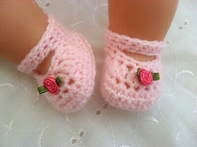 """Doll Clothes Pink Hand Crochet Knitted Shoes Fit Baby Born Annabel Reborn 15-19"""""""