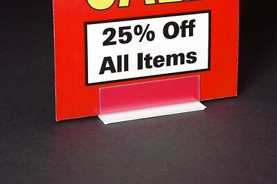 "Economical RETAIL SHELF/COUNTERTOP SIGN TAG HOLDERS ADHESIVE BASE- 3""L - 10 PCS"