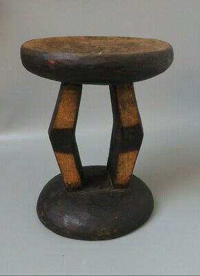 Good Small Unusual Southern African Tribal Art Carved Wooden Two Pillared Stool!