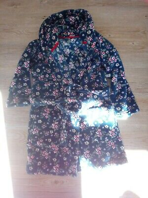 NEXT Girls flower hooded dressing gown bath robe aged 4-5 years pink green spa