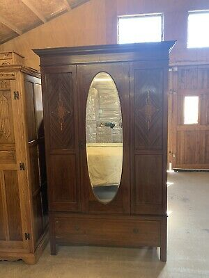 Antique Edwardian Mahogany Mirrored Wardrobe / Hall Robe