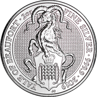 2019 Yale of Beaufort Great Britain Queen's Beasts 2 oz. Silver .9999 Fine
