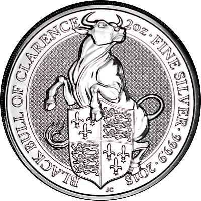 2018 Black Bull of Clarence Great Britain Queen's Beasts 2 oz. Silver .9999 Fine