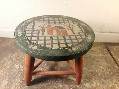 "Antique Primitive Painted Mini Stool! - Country Decor Shabby Chic - 7"" Stool!"