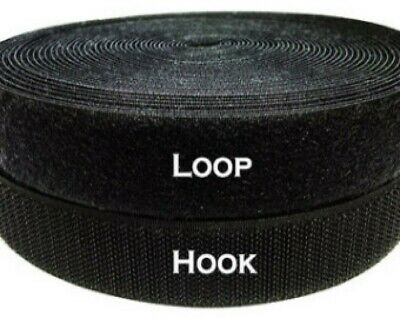 """Velcro® Brand 1"""" Inch Wide Black Hook and Loop - Sew On Type - 12 Inches - Uncut"""