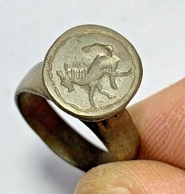 INTACT ANCIENT HELLENIC SILVER SEAL HORSE RING CIRCA 300-50BC 7.9gr 32mm (in 20m