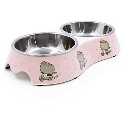Pusheen Pet Dog Cat Bowl Double Stainless Steel Pink Scooter