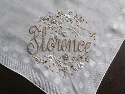 "Finest Vintage Antique Hand Embroidered Handkerchief Monogram ""Florence"" Hanky"