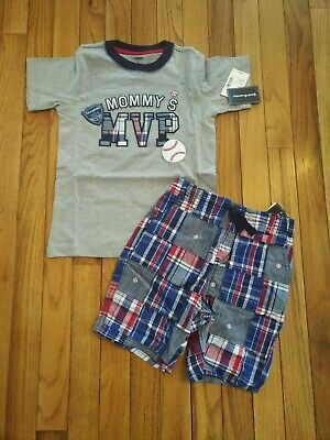 Gymboree Stripes in Space Mommy/'s Star Shirt /& Plaid Shorts Set Boys 4T NEW NWT