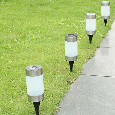 Solar Powered Cylinder Lights Led Outdoor Path Driveway Garden Lighting