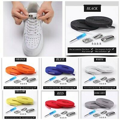 No Tie Shoelaces Elastic Sneaker Trainer Flat Laces Magnetic lock Kids Adults UK
