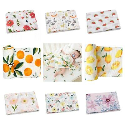 Large 120cm Breathable 100% Cotton Baby Muslin Swaddle Cloth Blanket Wrap Square
