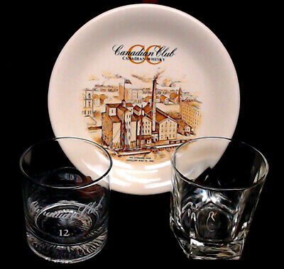 """Canadian Club Whisky Lot 2 Sipping Glasses And 8"""" Plate ~ Euc ~ Free Priority"""