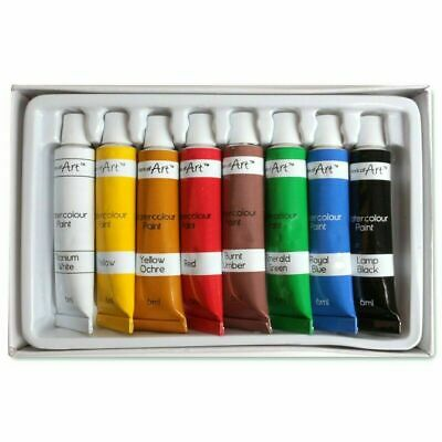 8x COLOURED OIL PAINTS SET Easy Squeeze Mixable Artist Craft Tubes Painting Kit