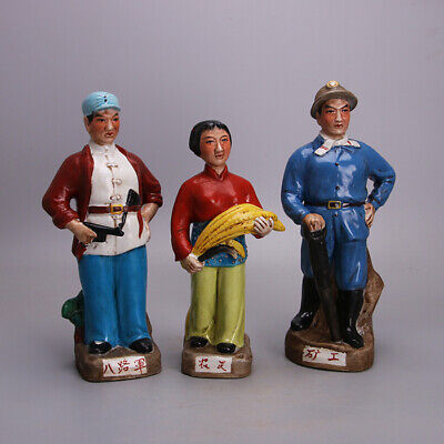 Collect Chinese Wenge Period Porcelain Famille Rose Worker Farmer Soldier Statue