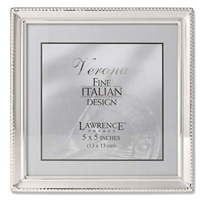 Lawrence Frames Polished Silver Plate 4x6 Hinged Double Picture Frame Bead Border Design 11646D