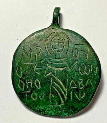 BYZANTINE CHRISTIAN PENDANT AMULET SAINT DESCRIPTION 1200-400AD 19.5gr 47mm