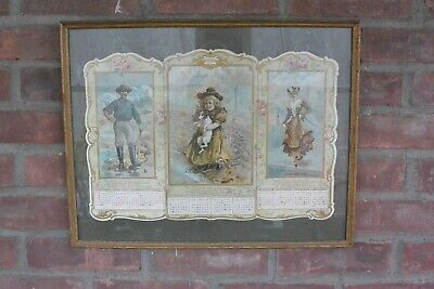 Antique 1900 United States Rubber Co; Uniroyal, Tri-Panel Calendar; Rubber Boots