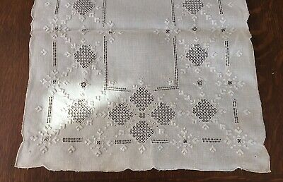 """Antique Hand Embroidered Lefkara Lace Table Runner 41"""" X 16"""" Off White"""