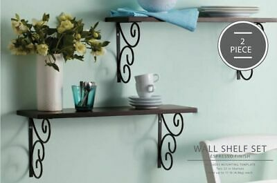 Wall Shelves Espresso Brown 2 Shelves with Scroll Brackets Never Used