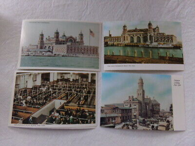 Series of 4 Collectible Reproductions Ellis Island White Border Postcards NEW