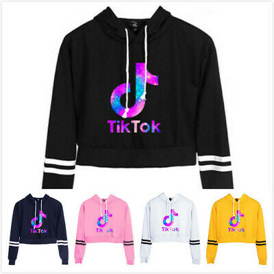 Women Girls Tik Tok Crop Hoodie Sweatshirt Long Sleeve Jumper Hooded Coat Hoody