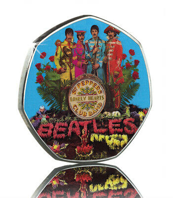 The Beatles. Sgt Pepper's Lonely Hearts Club Band. 50P Coin Collectors.colour