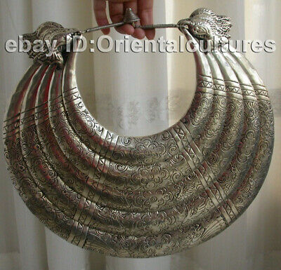 Big Vintage  Exotic Chinese Handmade Carved Miao Silver Necklace 1piece
