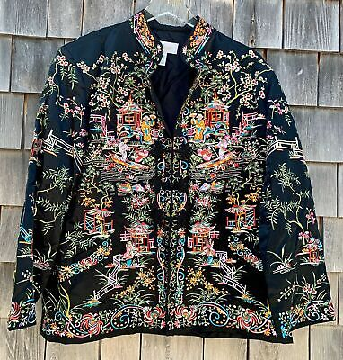 Vintage Chinese Hand Embroidered silk Jacket Heavily embroidery Size 3 Or XL