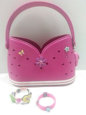 Crocs Little Girl Pink Purse Very Clean 15 Pins with 2 Bracelets and Key Chain