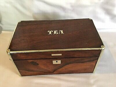 Quality Rosewood & Silver Capped Tea Caddy 1900