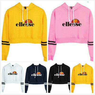 Women Girls ellesse Long Sleeve Crop Hoodie Sweatshirt Jumper Hooded Coat Hoody