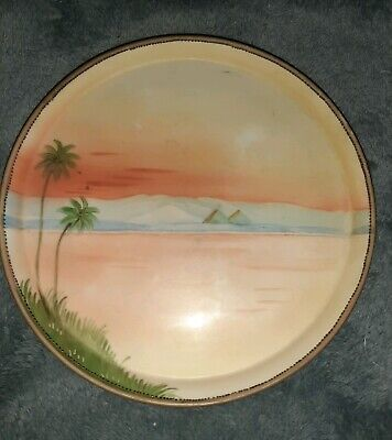 Nippon Egyptian Revival Pyramid Palm Tree Floral Hand Painted Porcelain Plate